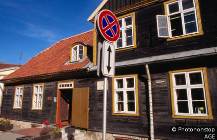Latvia, Baltic, Kuldiga, Tourist office in building dating from 1632, Kurzeme region.