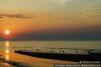 Jurmala , Riga, Latvia. Beach at Sunset on the Gulf of Riga