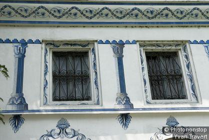 Bulgarie, station thermale de Velingrad, détail maison