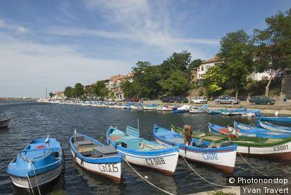Bulgarie, Sozopol, barques amarrées