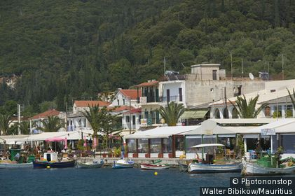 Greece, Ionic islands, island kefalonia, Sami, locality perspective, harbor, Europe, destination, Mediterranean-island, village, residences, buildings, palms, fisher-boats, fisher-harbor, outside, deserted,