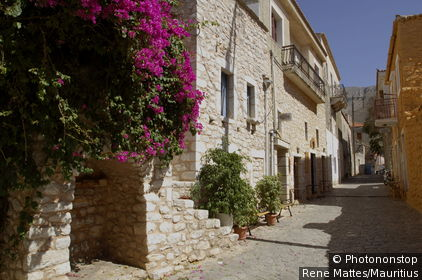 Greece, Peloponnes, Areopolis, alley, Europe, mainland, peninsula, place, houses, row of houses, architecture, stone-construction-manner, regional-typically, plants, Bougainvillea, human-empty, outside,