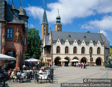 Market square and Kaiserworth and Town Hall, Harz.