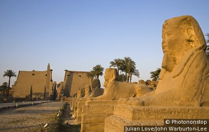 Luxor, Egypt. The Avenue of Sphinxes leading up to Luxor Temple, Egypt