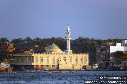 Mosque at delta of Nile river.