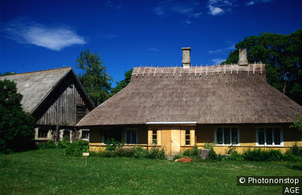 The Koguva open air museum on Muhu Island, the well preserved houses