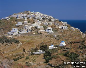 Griechenland, Westliche Kykladen, Insel Sifnos, Kastro, Ortsansicht Europa, Südosteuropa, Kykladeninsel, Dorf, Ortschaft.