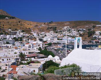 Grèce, îles égéennes, Dodécanèse, île de Patmos, Méditerranée - Skala Bay in Patmos
