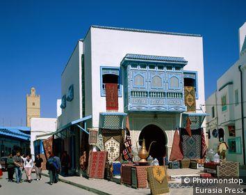 Tunisa, Kairouan, Street Scene / Carpet Store
