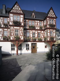 Germany, Rhineland-Palatinate, Nassau, town hall, Lahntal, nature reserve Nassau, timbering-house, Adelsheimer yard, builds 1607-09, buildings, construction, house, sight timbering, carvings, flower-jewelry, architecture,