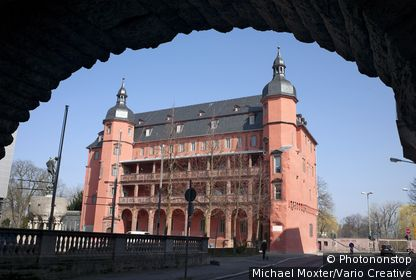 GERMANY, OFFENBACH, Isenburger Castle, Renaissance facade with arcades, now part of the campus of the College of Design HFG Offenbach, Offenbach, Hesssen, Germany.