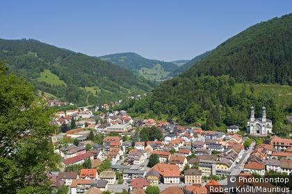 Germany, Baden Württemberg, Todtnau, place-overview, Black forest, hare-horn, place, houses, residences, church, parish-church, hill-landscape, Schauinsland, places, destinations, tourism, summer,