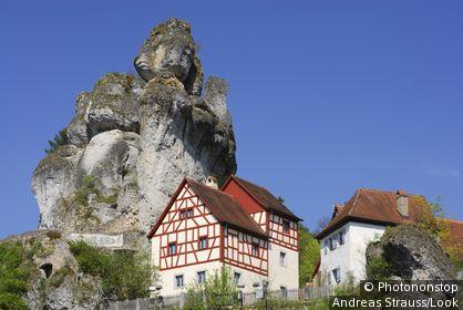 Half-timbered houses near rocks, Tuchersfeld, Franconian Switzerland, Upper Franconia, Bavaria, Germany