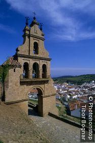Espagne, Andalousie, Aracena, clocher de l'église