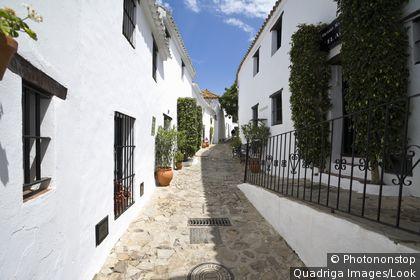 white mountain village Castellar de la Frontera, Andalucia, Province Cadiz, Spain