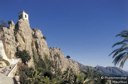 Spanien, Alicante, Guadalest, Festung Europa, Südwesteuropa, Iberische Halbinsel, Espana, Valencia, Landschaft, Felslandschaft, Felsen, Felswände, Burganlage, Befestigungsanlage, Turm, Sehenswürdigkeit, Denkmal, kunsthistorisch