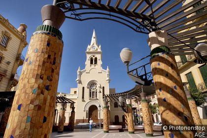 Modernist style church of ´Sagrado Corazon´ at Melilla. Spain.