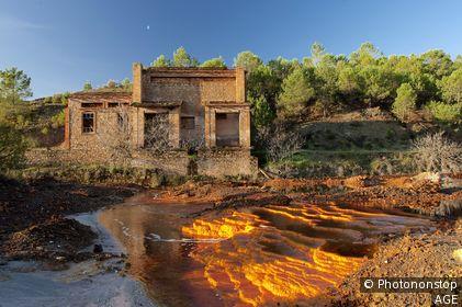 Ruins of building in the Rio Tinto mining. Rio Tinto. Nerva. Huelva. Spain. Europe.