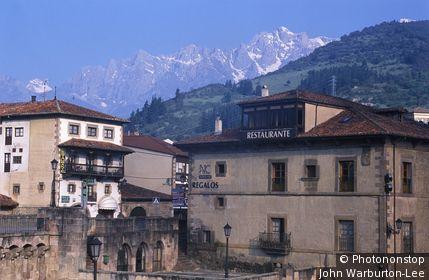 Spain;Picos de Europa;Potes - Potes with mountains