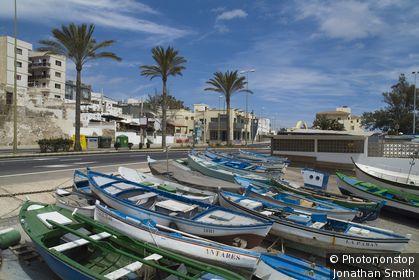 PUERTO DEL ROSARIO FUERTEVENTURA Fishing boats on harbour slipway
