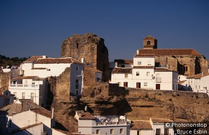 Historic white-washed buildings. Setenil de las Bodegas, Andalucia, Spain