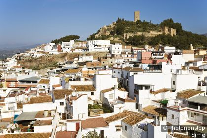 Velez-Malaga Capital of La Axarquia area Inland Costa del Sol Malaga Province Spain View over town to Arab fortress and church of San Juan Bautista