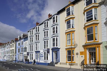 Uk, Wales, Ceredigion, Aberystwyth, Marine Terrace, Victorian style buildings