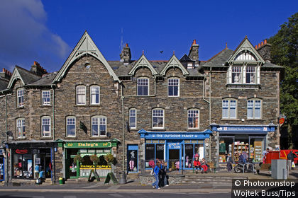United Kingdom, England, Ambleside, Market Cross, typical buildings