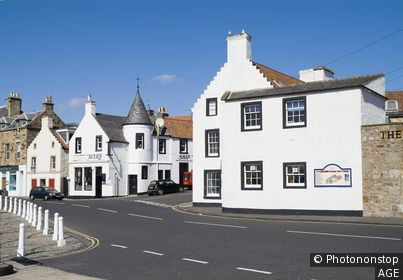 Scottish Fisheries Museum ANSTRUTHER FIFE Harbour seafront white washed clad traditional houses