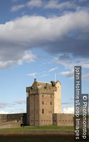 Scotland, Dundee, Broughty Ferry. A view toward Broughty Ferry castle
