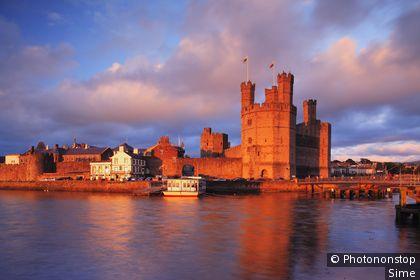 Royaume-Uni, Pays de Gales, Caernarfon, Grande-Bretagne, Gwynedd - View of the Unesco listed Castle of Caernarfon