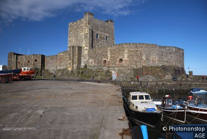 carrickfergus castle and harbour slipway county antrim northern ireland uk
