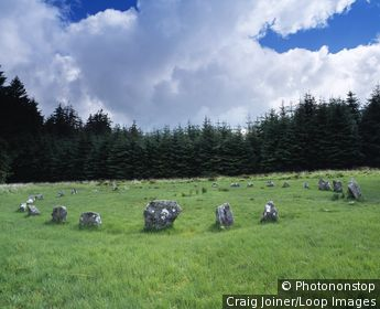 England, Devon, Chagford. Fernworthy stone circle near Chagford in Devon.