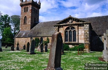 Historic church and graveyard. Dirleton, East Lothian, United Kingdom,Scotland