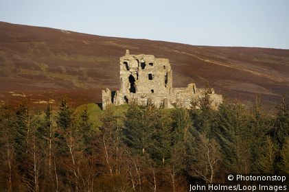 Scotland, Moray, Dufftown. A view across the trees to the remains of Auchindoun Castle in Moray.