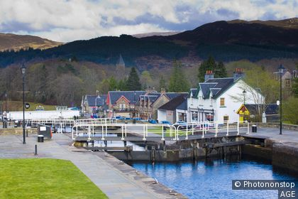 Scotland, Scottish Highlands, Fort Augustus A sequence of Canal Locks´ on the Caledonian Canal near Fort Augustus
