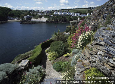 headlands', polruran, cornwall. seaside garden with fowey harbour in the background
