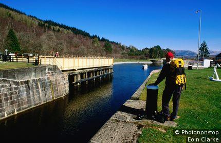 Swing-bridge on Caledonian Canal. Gairloch, Highland, United Kingdom,Scotland