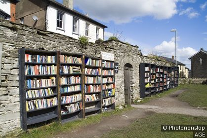Hay on Wye POWYS WALES Bookcases outside secondhand books for sale in booktown
