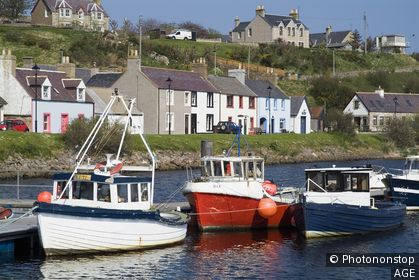 Helmsdale Harbour HELMSDALE SUTHERLAND Fishingboats pontoon quayside pier village cottages seafront