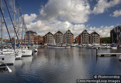 England, Suffolk, Ipswich. Yachts and boats moored at Ipswich Haven Marina in Suffolk.