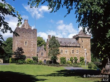 Dean castle. Kilmarnock. Trees framing. Ayrshire, Scotland, UK.