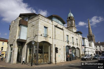 the irish linen centre and lisburn museum housed in old market house and new development in lisburn city centre county antrim northern ireland uk