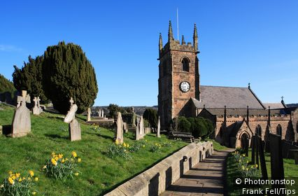 England, Derbyshire, Matlock, Parish Church in spring.