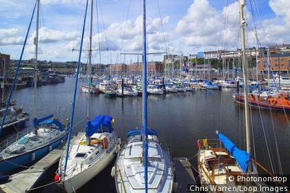 Wales, Pembrokeshire/ Sir Benfro, Milford Haven. Yachts moored in the harbour of Milford Haven.