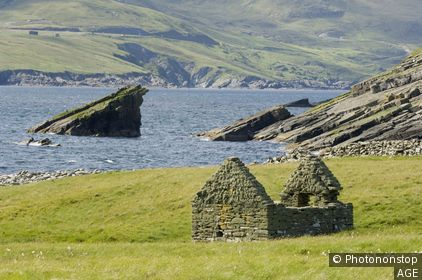 Ruins of ancient cattle building, Mousa island, Shetland, UK