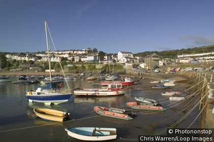 Wales, Ceredigion, New Quay. Boats moored in New Quay. New Quay lies on Cardigan Bay and is known for bottlenose dolphins.