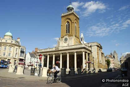 View of town centre, showing All Saints Church, Northampton, England