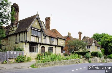 Traditional English cottage houses in the village of Penshurst, Kent, southeast England, UK