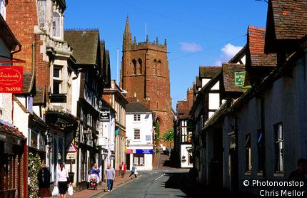 United Kingdom, England, Shropshire, Shrewsbury, Street and church, Bridgenorth.
